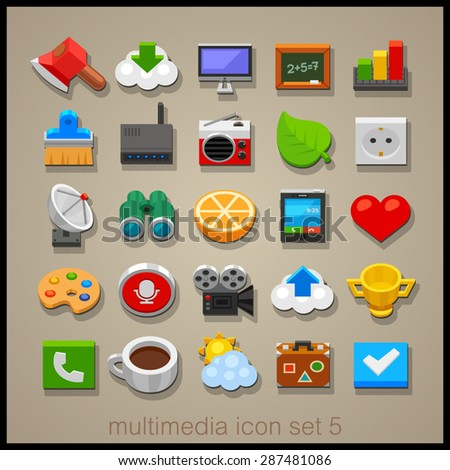 Multimedia icon set. Technology