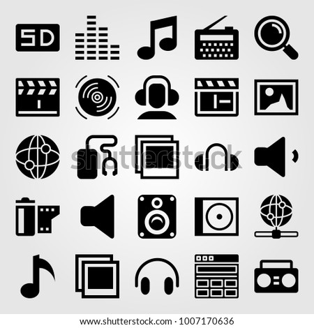 Multimedia icon set vector. film roll, sd card, internet and picture