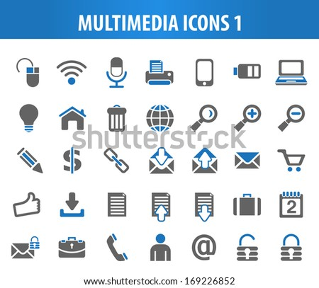Multimedia Icons 1. - stock vector