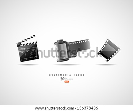 Multimedia icons, Camera film roll, film strip, Clapper board, Vector illustration - stock vector