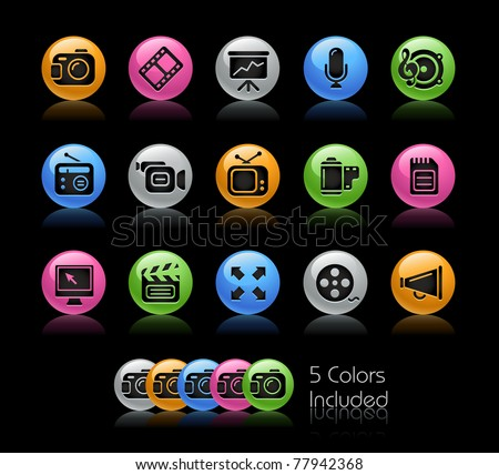 Multimedia Icons // Gelcolor Series -------It includes 5 color versions for each icon in different layers ---------