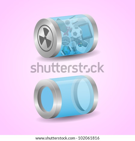 Multimedia icons - labels. Can be used as trash bin. Vector - stock vector