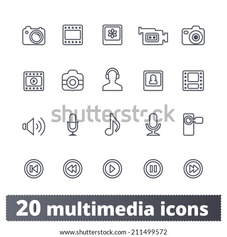 Multimedia icons: photo, video, music vector set