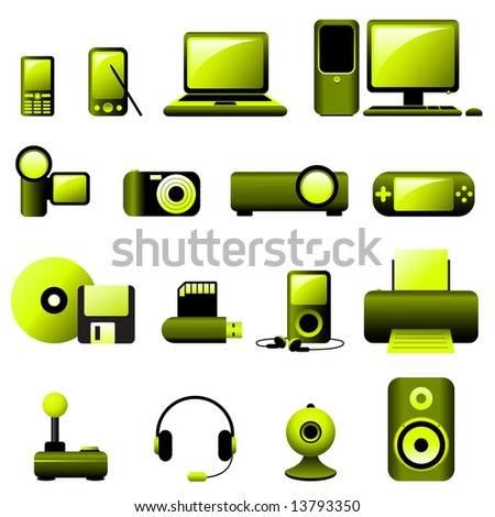 Multimedia Icons - Vector. * All elements are grouped in layers and easy to edit (No transparency.)* - stock vector