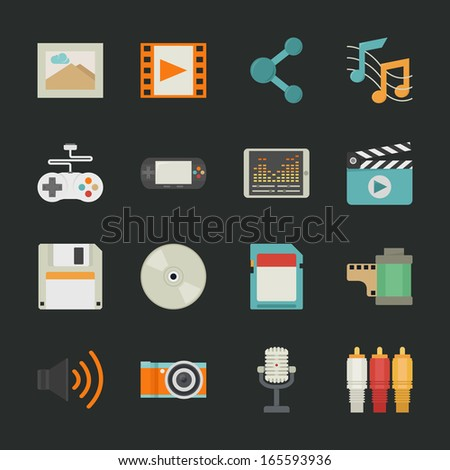 multimedia icons with black background , eps10 vector format - stock vector