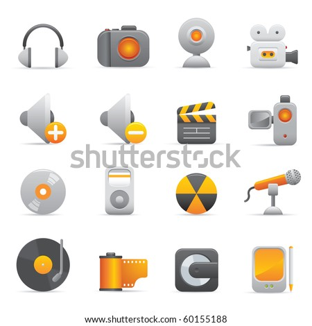Multimedia Icons, Yellow08 Professional icons for your website, application, or presentation
