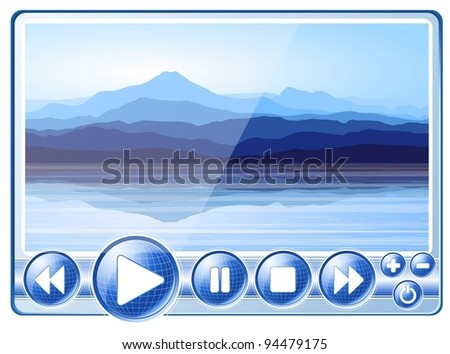 Multimedia Player with view of blue mountains near lake. Vector EPS10. - stock vector