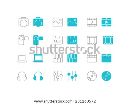 Multimedia set. Trendy thin icons for web and mobile. Line and full versions. Normal and enable state