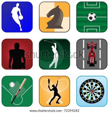 Multimedia Sport Icons - stock vector
