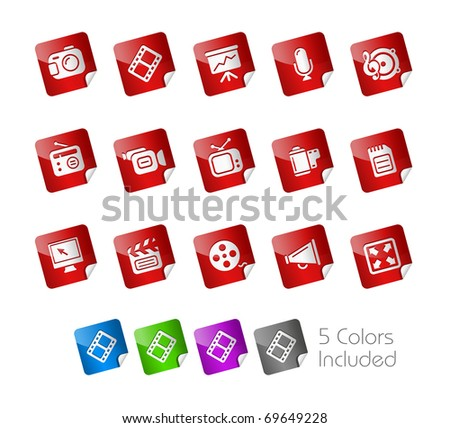 Multimedia  // Stickers Series -------It includes 5 color versions for each icon in different layers --------- - stock vector
