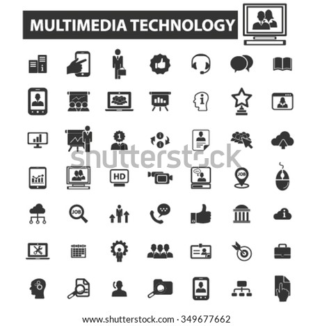 multimedia technology icons, signs vector concept set for infographics, mobile, website, application  - stock vector