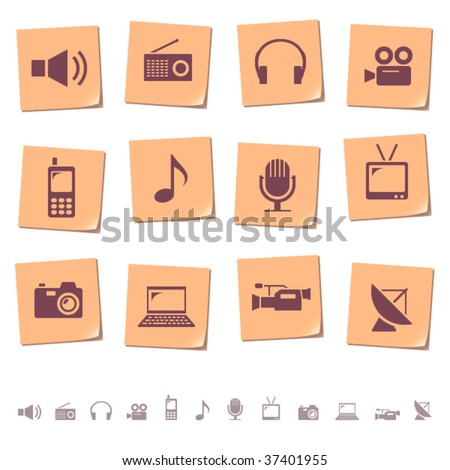 Multimedia & telecom icons on memo notes - stock vector