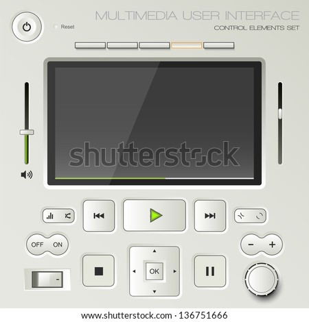 Multimedia user interface set - graphic design elements - stock vector