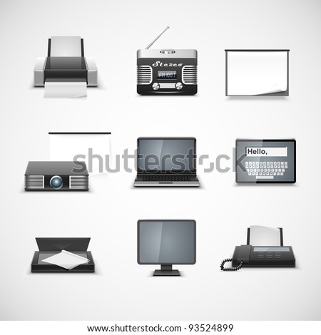 multimedia vector icon set - stock vector