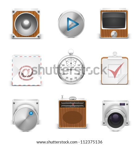 multimedia vector icons - stock vector