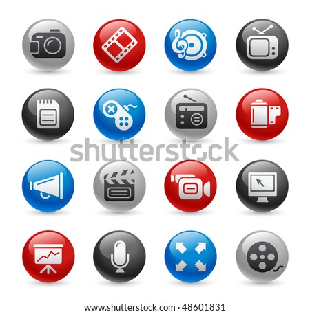 Multimedia Web Icons // Gel Pro Series - stock vector