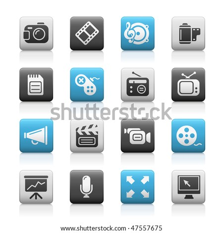 Multimedia Web Icons  // Matte Series - stock vector