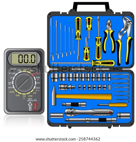 Multimeter of black color and set of different tools  in a box vector - stock vector