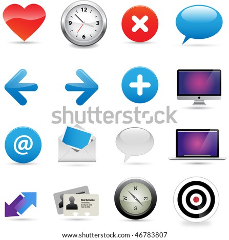 Multiple business icons related to communications. Vector. - stock vector