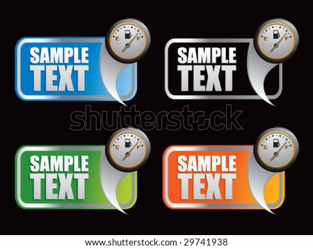 multiple colored curl banners featuring gas gauge - stock vector