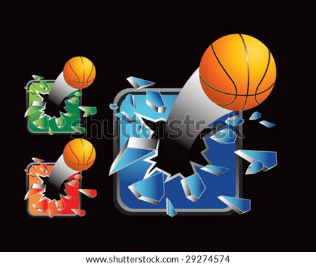 multiple colored icon breaking basketballs - stock vector