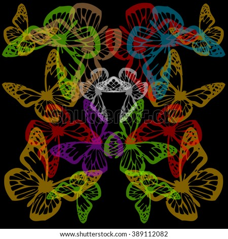 Multiple colorful butterflies background on black  - stock vector