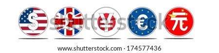 Multiple currencies on transparent button background in eps10 format. - stock vector