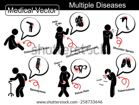 Multiple diseases ( Osteoarthritis knee , Ischemic heart disease , Shoulder sprain , Spondylosis , Pelvic pain , Pulmonary tuberculosis ( TB ) ) - stock vector