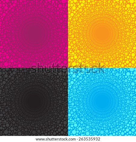multiple dot Circles arranged in a wire circle bigger is 4 color tone pink yellow blue black - stock vector