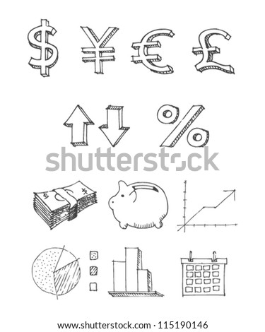 Multiple Economy Symbols And SIgns - stock vector