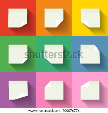 Multiple white paper notes with folded corners, eps10 vector illustration - stock vector