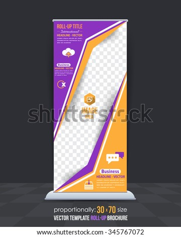 Multipurpose Business Concept Roll-Up Banner, Advertising Vector Design - stock vector