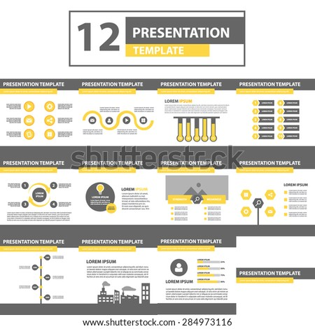 Multipurpose Presentation Templates yellow edition. Brochure flyer Design - stock vector
