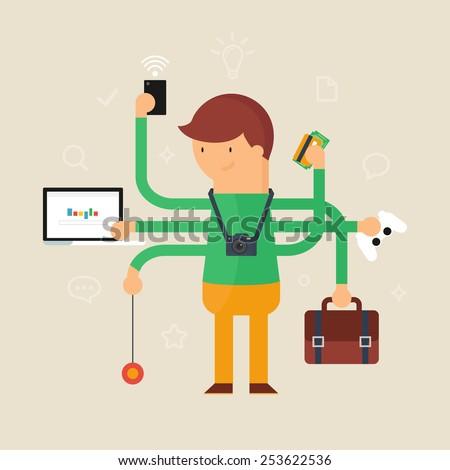 Multitasking man vector illustration, flat style  - stock vector