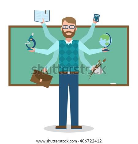 Multitasking school teacher near chalk board isolated on white. Teacher shiva concept vector. Teacher man character. Tutor