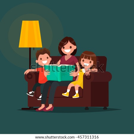 Mum reads the book to children. Vector illustration of a flat design - stock vector