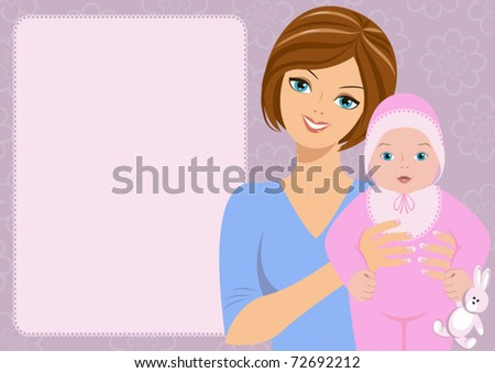 Mum with child / Mother holds on hands of  the sweet baby in pink clothes. The different graphics of the vector image are all on separate layers so they can easily be moved or edited individually. - stock vector