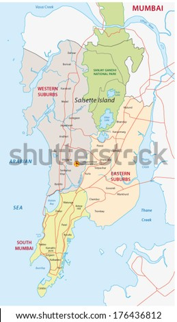 Mumbai Map Stock Photo Photo Vector Illustration 176436812