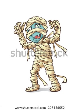 mummy is being held up his hands to scare smiling - stock vector