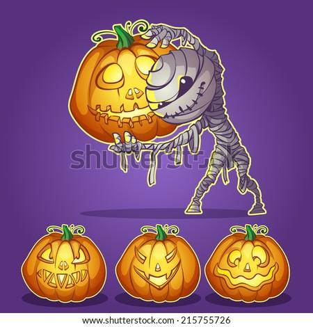 mummy with pumpkins for Halloween - stock vector