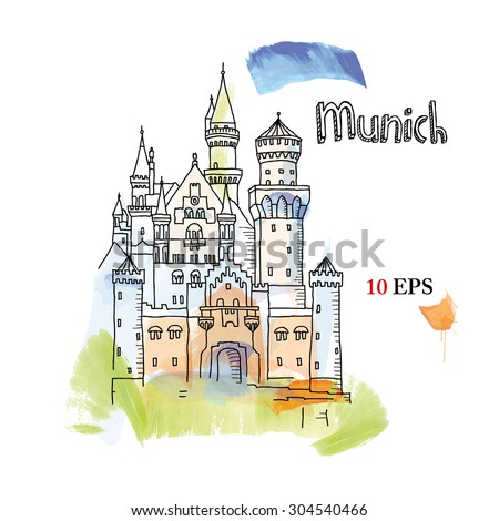 Munich. Neuschwanstein castle - stock vector