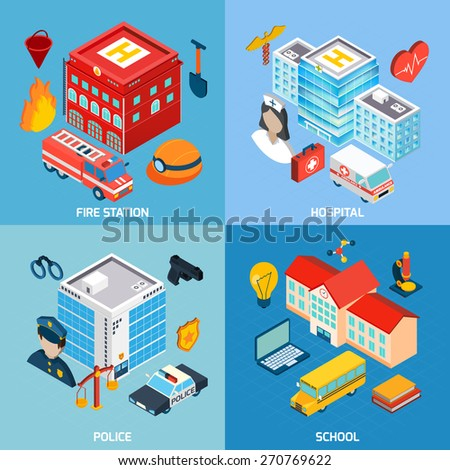 Municipal buildings design concept set with fire station hospital police and school isometric icons isolated vector illustration - stock vector