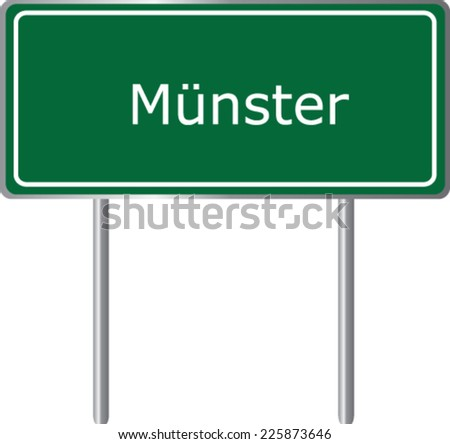 Munster, Germany, road sign green vector illustration, road table - stock vector