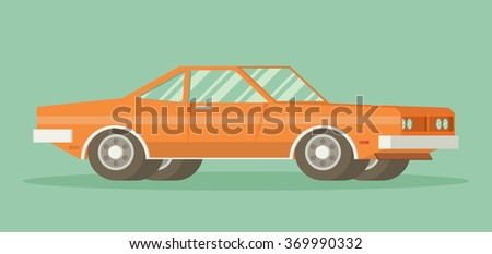Muscle car. Flat styled vector illustration - stock vector