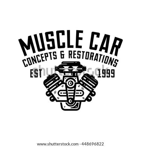 Muscle Car Garage Retro Style Logo Stock Vector Royalty Free