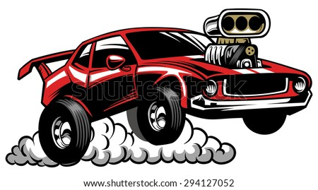 muscle car look with supercharged engine - stock vector