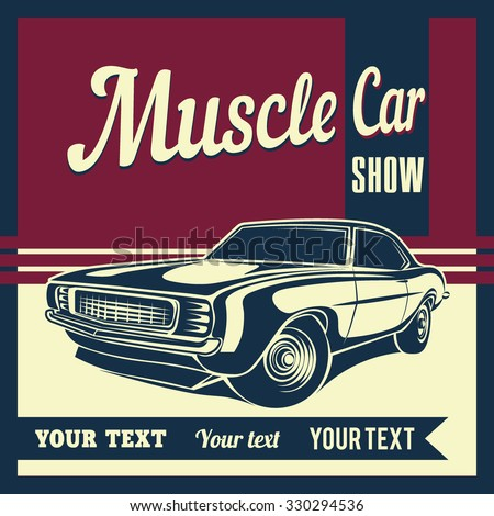 Muscle car retro vector - stock vector