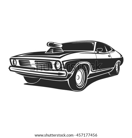 Retro Muscle Car Vector Illustration Vintage Stock Vector