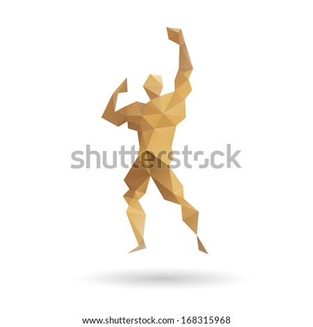 Muscle man abstract isolated on a white backgrounds