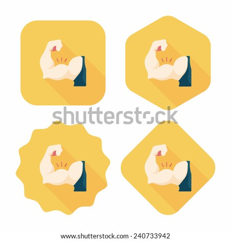 muscle man flat icon with long shadow,eps10 - stock vector